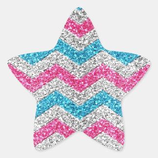 Beautiful girly trendy glitter shining zigzag star sticker