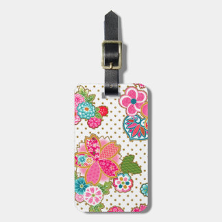 Beautiful girly trendy Japanese spring floral Luggage Tag