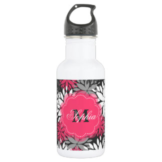 Beautiful girly trendy monogram floral pattern 532 ml water bottle