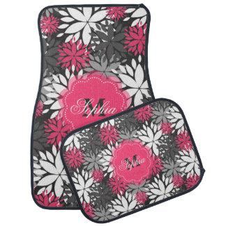 Beautiful girly trendy monogram floral pattern car mat
