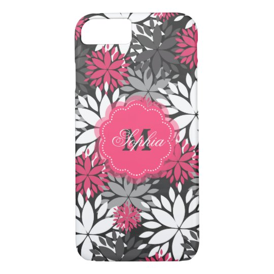 Beautiful girly trendy monogram floral pattern iPhone 8/7