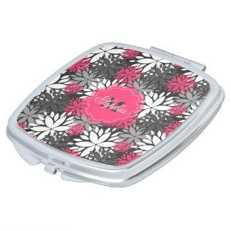 Beautiful girly trendy monogram floral pattern makeup mirror