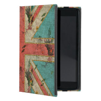 Beautiful girly trendy vintage floral U.K. Flag Cases For iPad Mini