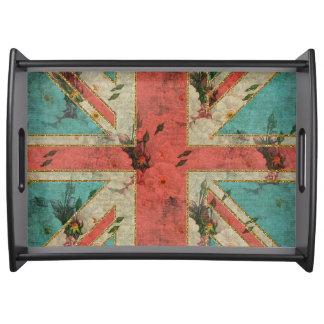 Beautiful girly trendy vintage floral U.K. Flag Serving Tray