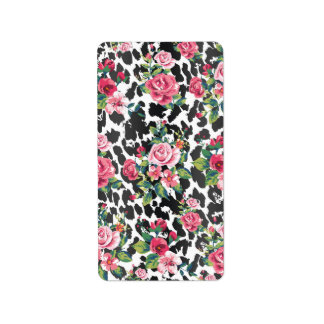 Beautiful girly trendy vintage roses and leopard address label