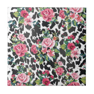 Beautiful girly trendy vintage roses and leopard tile