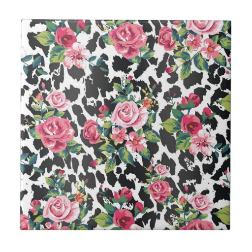 Beautiful girly trendy vintage roses and leopard tiles