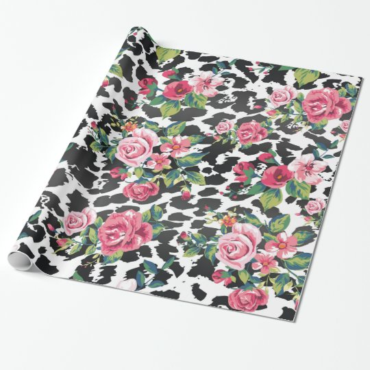 Beautiful girly trendy vintage roses and leopard wrapping