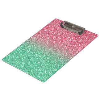 Beautiful girly trendypink green faux glitter clipboard