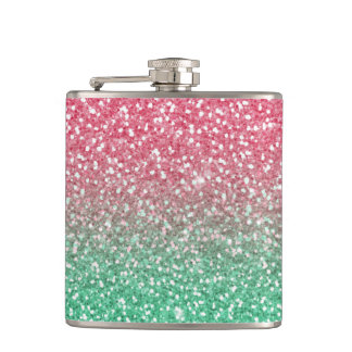Beautiful girly trendypink green faux glitter hip flask