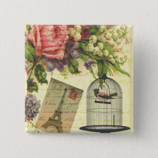 Beautiful girly vintage roses flowers Eiffel Tower 15 Cm Square Badge