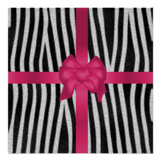 Beautiful girly zebra skin black white pink bow poster