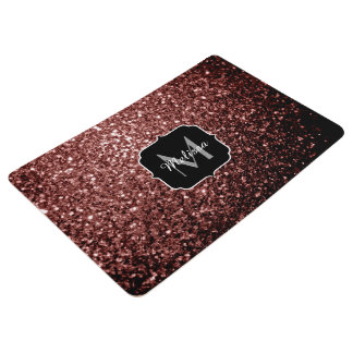 Beautiful Glam Brown Red Glitter sparkles Monogram Floor Mat
