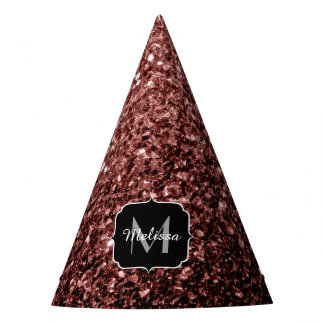 Beautiful Glam Brown Red Glitter sparkles Monogram Party Hat