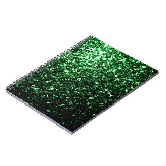 Beautiful Glamour Dark Green glitter sparkles Spiral Notebook