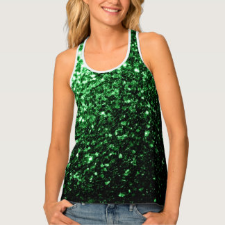 Beautiful Glamour Dark Green glitter sparkles Tank Top