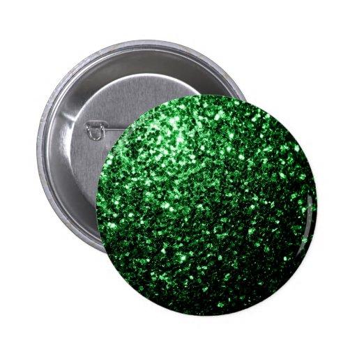 Beautiful Glamour Green glitter sparkles Button