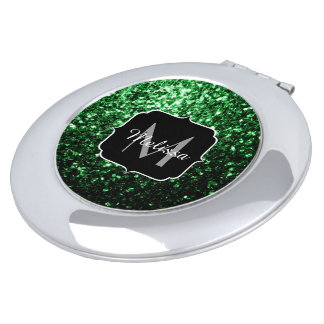 Beautiful Glamour Green glitter sparkles Monogram Compact Mirrors