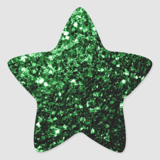 Beautiful Glamour Green glitter sparkles Star Stickers