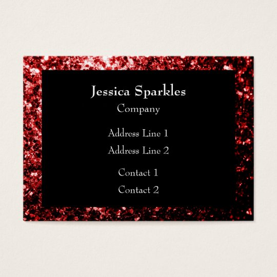 Beautiful Glamour Red Glitter sparkles Frame Black Business Card