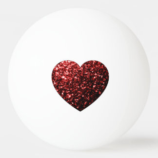 Beautiful Glamour Red Glitter sparkles Heart Ping Pong Ball