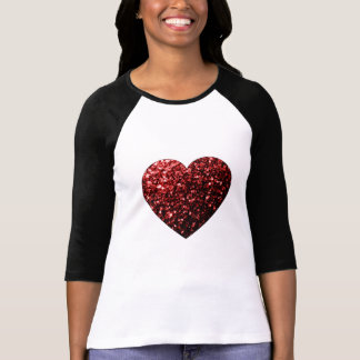 Beautiful Glamour Red Glitter sparkles Heart T-shirts