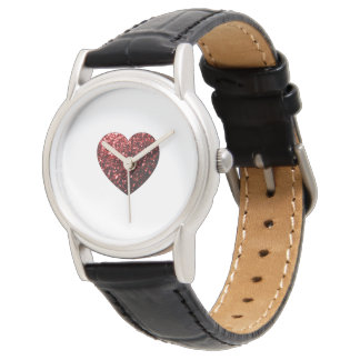 Beautiful Glamour Red Glitter sparkles Heart Watch