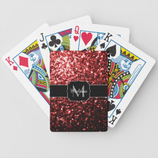 Beautiful Glamour Red Glitter sparkles Monogram Bicycle Playing Cards