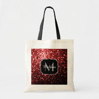 Beautiful Glamour Red Glitter sparkles Monogram Budget Tote Bag