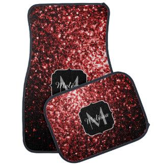 Beautiful Glamour Red Glitter sparkles Monogram Car Mat