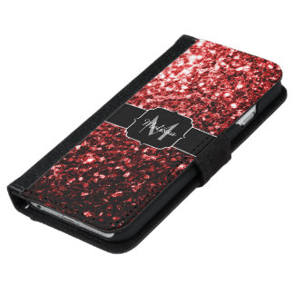 Beautiful Glamour Red Glitter sparkles Monogram iPhone 6 Wallet Case