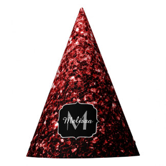 Beautiful Glamour Red Glitter sparkles Monogram Party Hat