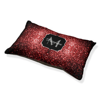 Beautiful Glamour Red Glitter sparkles Monogram Pet Bed