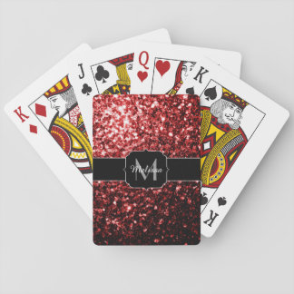 Beautiful Glamour Red Glitter sparkles Monogram Playing Cards