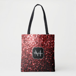 Beautiful Glamour Red Glitter sparkles Monogram Tote Bag