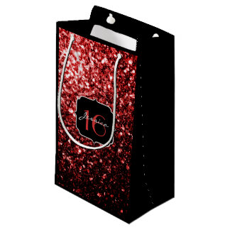 Beautiful Glamour Red Glitter sparkles Sweet 16 Small Gift Bag