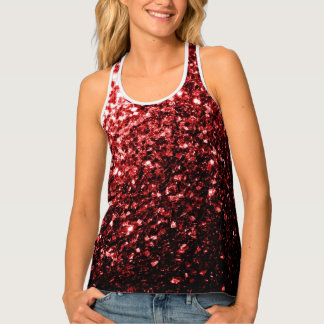 Beautiful Glamour Red Glitter sparkles Tank Top