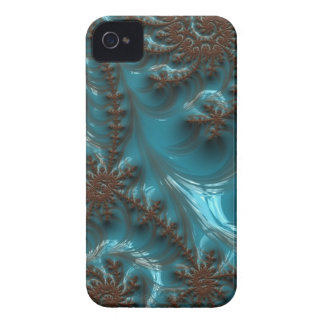Beautiful Glossy Turquoise Brown Fractal Art iPhone 4 Cases