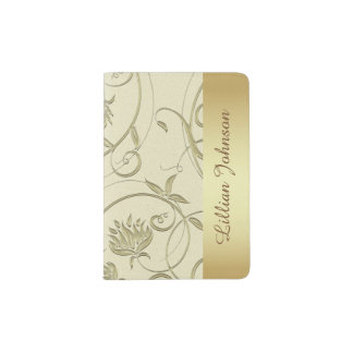 Beautiful Gold and Cream Passport Holder