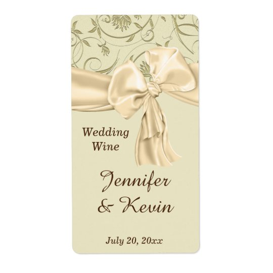 Beautiful Gold and Cream Wedding Wine Label