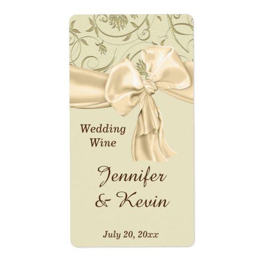 Beautiful Gold and Cream Wedding Wine Label