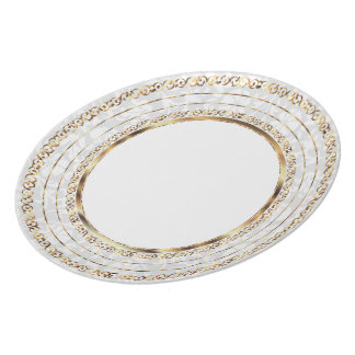 Beautiful Gold and White Damask Plate