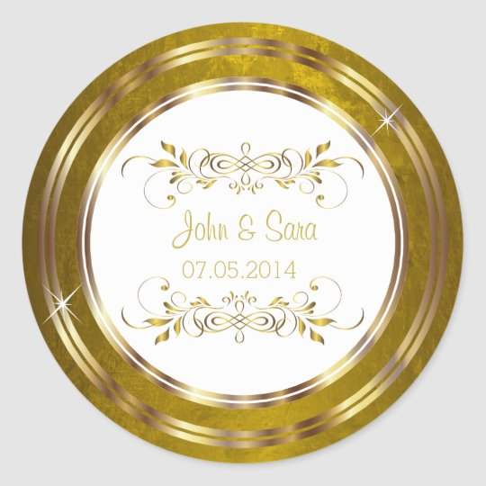 Beautiful Gold Foil Outline Wedding Round Sticker