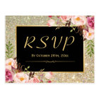 Beautiful Gold Glitter Floral RSVP Response Postcard