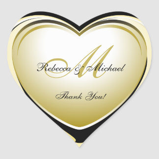 Beautiful Gold Heart Wedding Thank You Sticker