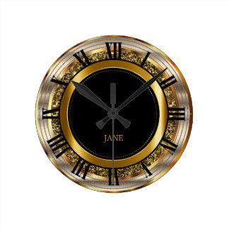 Beautiful Gold, Silver and Black Design Clock