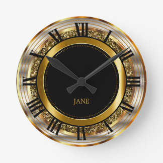 Beautiful Gold, Silver and Black Design Round Clock