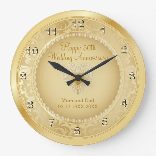 Beautiful Golden 50th Anniversary Clock