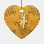 Beautiful golden ballerina ceramic heart decoration