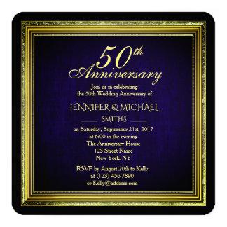 Beautiful Golden Frame Wedding Anniversary Invite